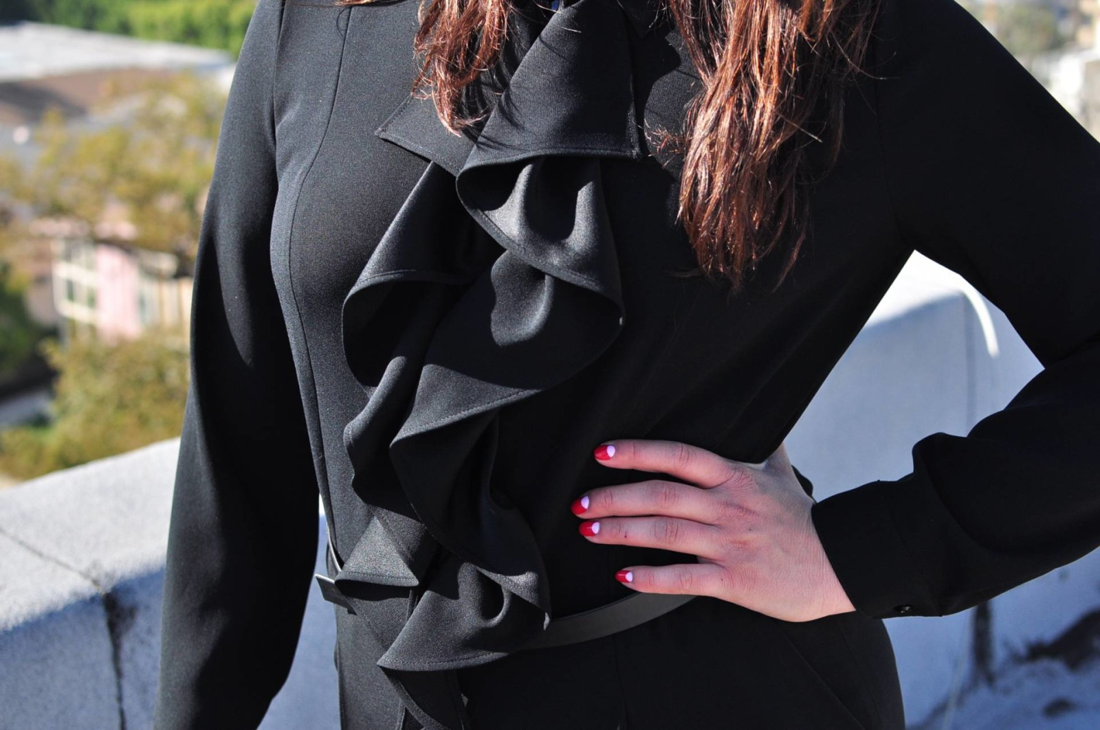 black jumpsuit with ruffles