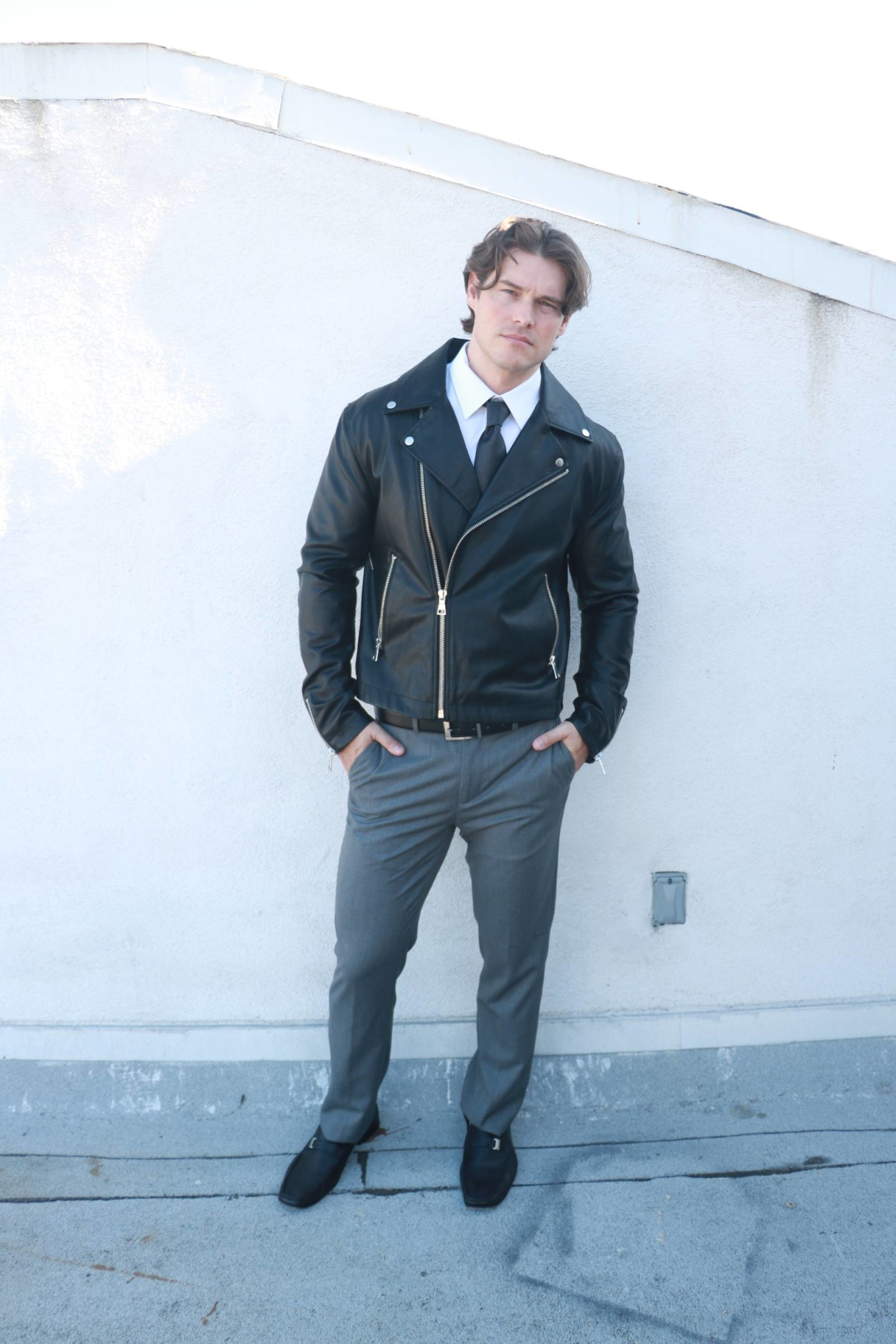 men's leather jacket dressed up